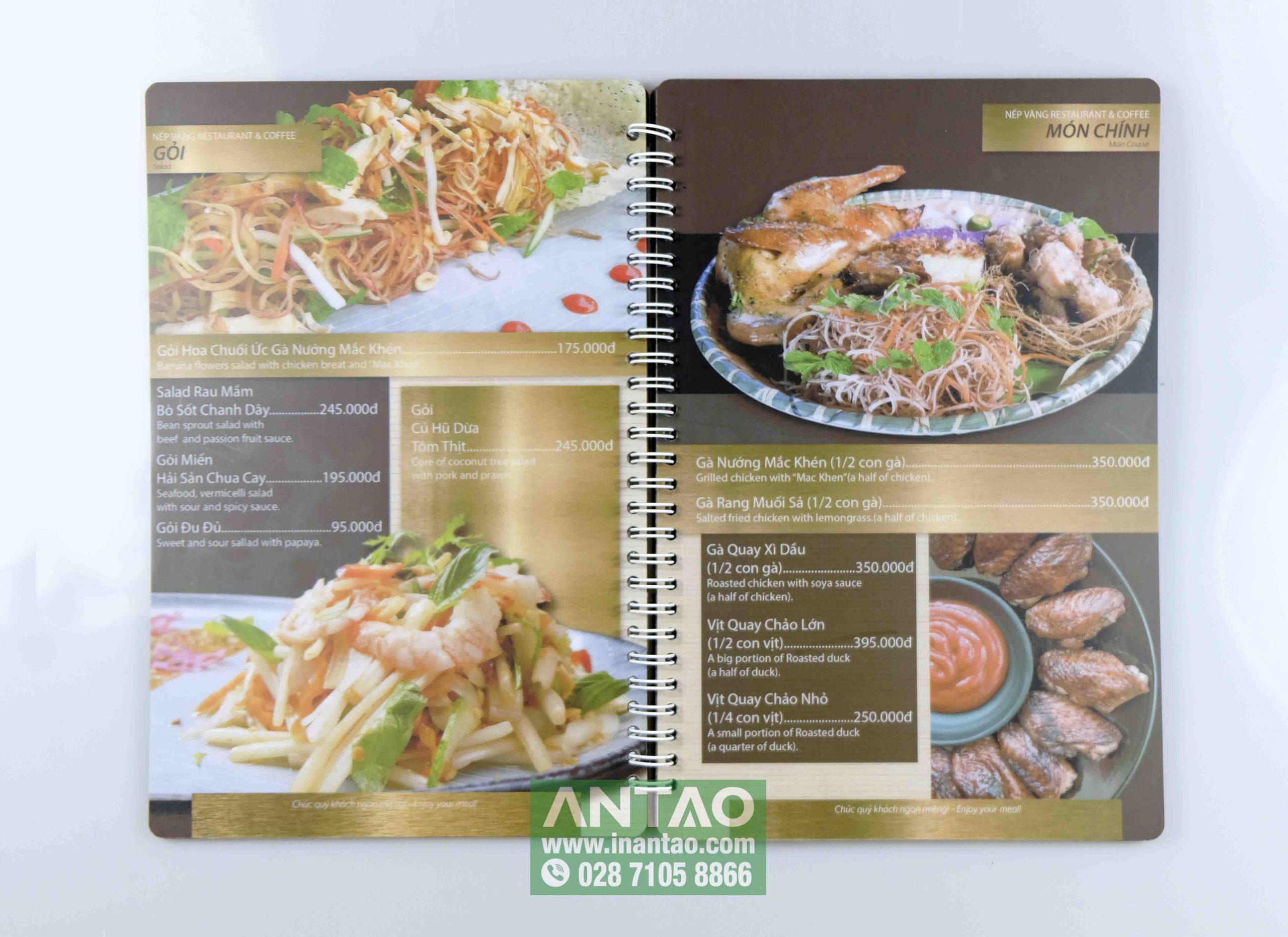 menu nhựa đẹp